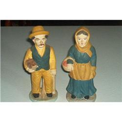 Figurine-Chalk Farmer And Wife  #916333