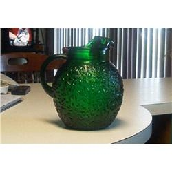 Vintage Forest Green Glass Pitcher #916340
