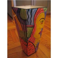 Tall  Picasso inspired ceramic Vase #917000