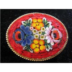 Italian vintage Floral Mosaic Brooch #917002