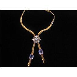 ART DECO Gold Tone and Rhinestone Tie  #917005