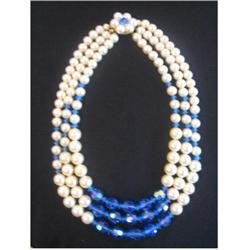 Unique 3 strand Vintage Pearl and Blue Lucite #917006