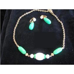 Green and White Avon Demi Parure Set of 2 #917007