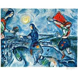 BEAUTIFUL MARC CHAGALL LOVERS OVER PARIS  #917016