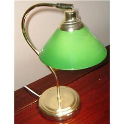 Estate Green globe brass desk lamp shade light #917026