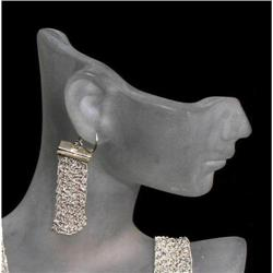 Estate Yugosalvian knit sterling silver earring #917027