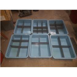 "Light Blue Plastic Bin 15""1/4 x 20""1/4 x 4""1/2 inside"