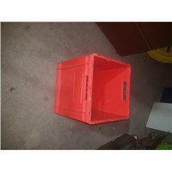 """Red Storage Plastic Bin 14""""1/2 x 14""""1/2 x 16""""1/2"""