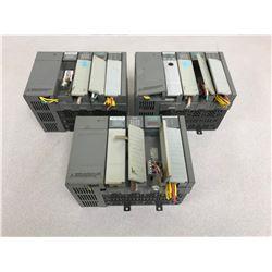(3) ALLEN BRADLEY SLC 500 1746-P1 POWER SUPPLY W/ MODULES & 4 SLOT RACK