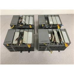 (4) ALLEN BRADLEY SLC 500 1746-P1 POWER SUPPLY W/ MODULES & 4 SLOT RACK