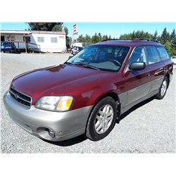 D1 --  2002 SUBARU LEGACY OUTBACK AWP , Red , 186500  KM's
