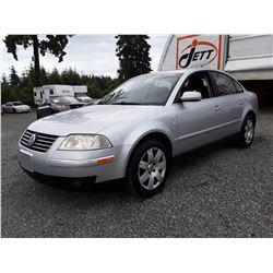 "A12 --  2003 VW PASSAT GLX  , Silver , 258251  KM's ""NO RESERVE"""