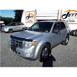 F5 -- 2011 FORD ESCAPE XLT SUV, SILVER, 205,905 KMS
