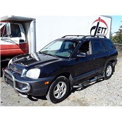 "A5 --  2004 HYUNDAI SANTA FE SUV, BLUE, 313,466 KMS ""NO RESERVE"""