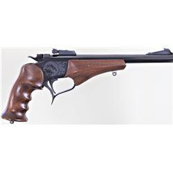 "Thompson Contender .22 LR SN 311677 single shot pistol blued finish, walnut grips with 10"" bull barr"