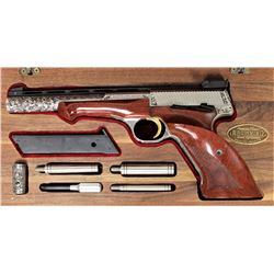 "Master engraved Browning Medallist 22 LR SN5384T73 semi automatic pistol with 6 3/4"" vent rib barrel"