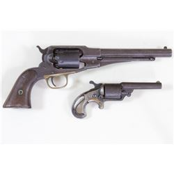 Collection of 2 antique revolvers 1) Remington New Model Navy .36 cal. SN 27577 percussion revolver