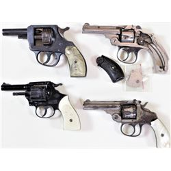 Collection of 4 includes 1) Antique S&W safety hammerless .32 cal Lemon squeezer revolver nickel fin