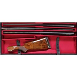 "Set of 3 Browning Superposed O/U 28"" steel barrels and walnut stock including .410, .28 and 20 gauge"
