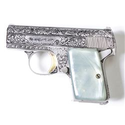 FN Browning Baby .25 auto SN 349082 Renaissance Model W, 90-95% factory engraving satin silver finis
