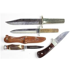 Collection of 4 knives includes Case R503, Edgebrand 468 and 2) vintage bowie knives.Edgebrand 468 a
