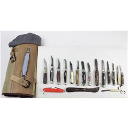 Collection of 17 pocket knives, storage case and Pocket knife collectors book.and Pocket knife colle