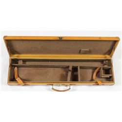 """Vintage leather shotgun hardcase unmarked up to 30"""" barrels, complete and good condition.unmarked up"""