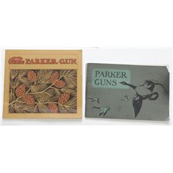 2 scarce original Parker Gun catalogs, 1930 Green Geese cover and c. 1910 pine cone cover.Green Gees