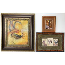 Collection of 3 framed items includes 2 cowboy prints and print on board abstract of a rooster, larg
