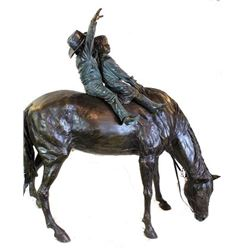 Large impressive bronze sculpture horse with boy and girl riders in multi color brown and green pati