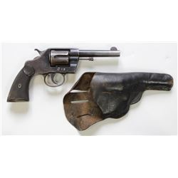 """Colt New Army .38 cal SN 31737 double action revolver blue finish, 4 1/2"""" barrel with Colt hard rubb"""