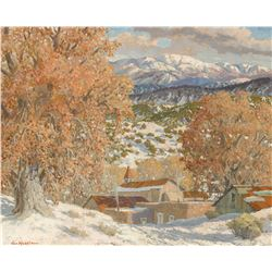 Carl Von Hassler | Northern New Mexico Village Winter Scene