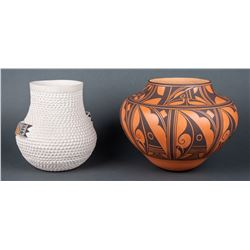 Stella Shutiva (Acoma) & Anderson and Avelia Peynetsa (Zuni)  | Lot of Two - Zuni Design Pot & White