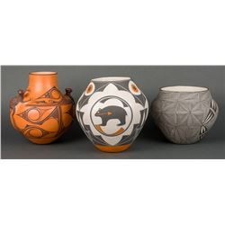 Zuni and Acoma Various Artists | Lot of Three - Zuni Pot, Acoma Pot with Bear & Acoma Black & White