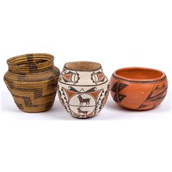 Various Artists | Lot of 3-Pima Baskets Olla, Zuni Jar & Hopi Bowl