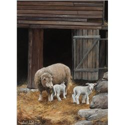 Gerald L. Lubeck   Ewe and Two Lambs