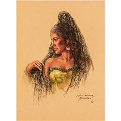 William Hampton   Woman in Spanish Mantilla