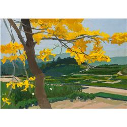 Si Chen Yuan   Tree with Golden Leaves Above Landscape