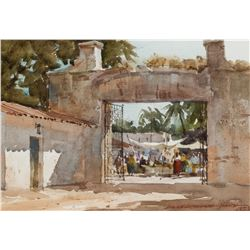 Lowell Ellsworth Smith   Marketplace Through Archway, Mexico