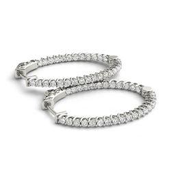 3.65 ctw Diamond VS/SI 40 MM Hoop Earrings 14k White Gold