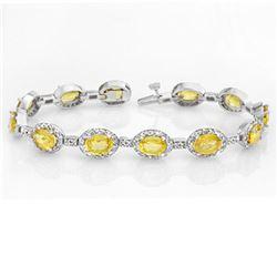 19.6 ctw Yellow Sapphire & Diamond Bracelet 14k White Gold