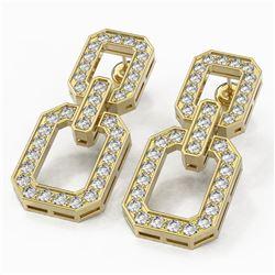 3.32 ctw Diamond Designer Earrings 18K Yellow Gold