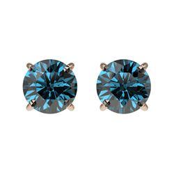 1 ctw Certified Intense Blue Diamond Stud Earrings 10k Rose Gold