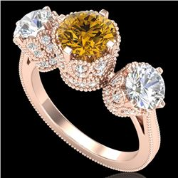 3.06 ctw Intense Fancy Yellow Diamond Art Deco Ring 18k Rose Gold