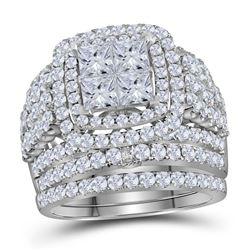 14kt White Gold Princess Diamond Bridal Wedding Engagement Ring Band Set 3-3/4 Cttw