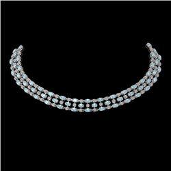 61.73 ctw Sky Topaz & Diamond Necklace 10K White Gold