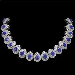121.42 ctw Sapphire & Diamond Victorian Necklace 14K White Gold