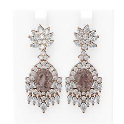 15.5 ctw Morganite & Diamond Earrings 18K Rose Gold