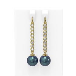 1.44 ctw Diamond & Pearl Earrings 18K Yellow Gold