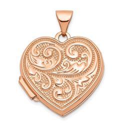 14k Rose Gold Scrolled Love you always Heart Locket - 18 mm